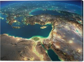 Canvastavla Night Earth. Afrika och Mellanöstern