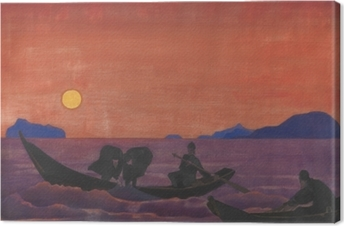 Canvastavla Nikolaj Rjorich - En we gaan door met vissen