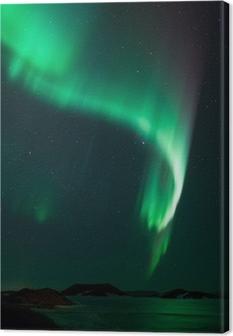 Canvastavla Norrsken över frusna sjön Myvatn på Island