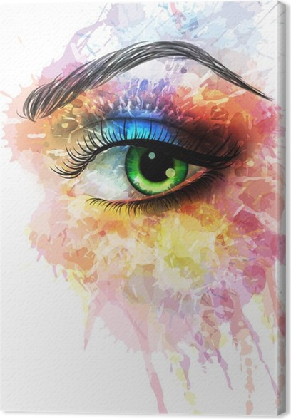 Canvastavla Ögon gjord av färgglada stänk - Väggdekor