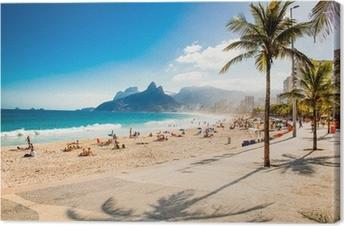 Canvastavla Palmer och två bröder Mountain på Ipanema beach, Rio de Janeiro