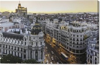 Canvastavla Panoramautsikt över Gran Via, Madrid, Spanien.