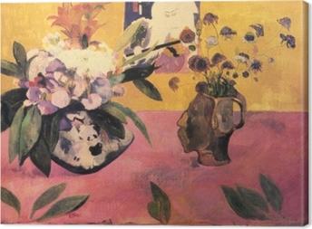 Canvastavla Paul Gauguin - Blommor och en japansk bok