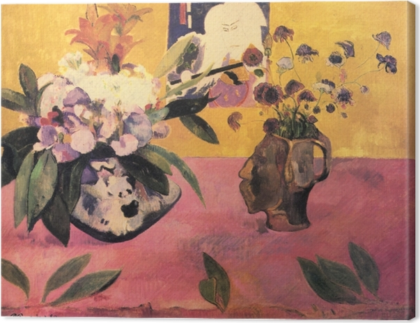 Canvastavla Paul Gauguin - Blommor och en japansk bok - Reproduktioner