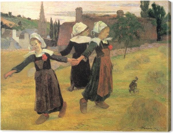 Canvastavla Paul Gauguin - Bretonska flickor som dansar - Reproduktioner