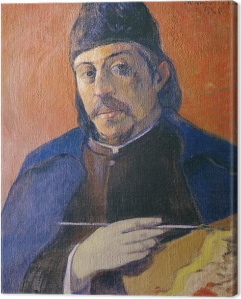 Canvastavla Paul Gauguin - Självporträtt med palett - Reproduktioner