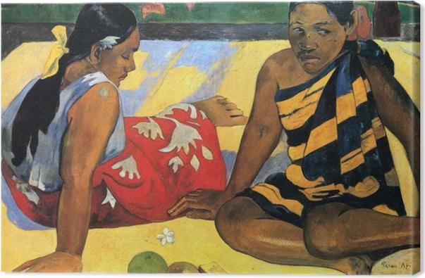 Canvastavla Paul Gauguin - Två Tahiti kvinnor - Reproduktioner