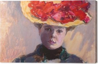Canvastavla Pierre Bonnard - Meisje met strooien hoed