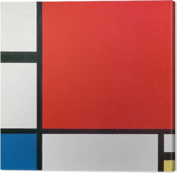 Canvastavla Piet Mondrian - Komposition II i rött, blått och gult - Reproduktioner
