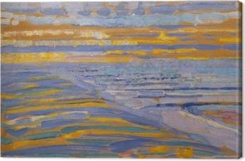 Canvastavla Piet Mondrian - Utsikt från sanddyner med stranden och bryggan