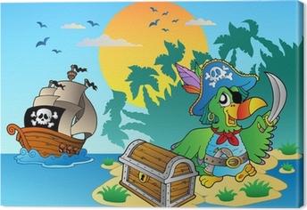Canvastavla Pirate papegoja och bröstet på ön
