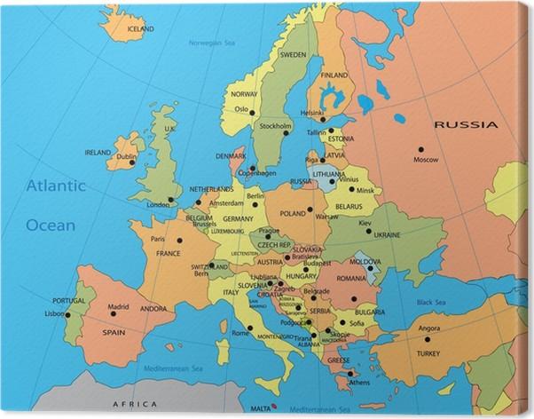 karta av europa Canvastavla Politisk karta över Europa • Pixers®   Vi lever för  karta av europa
