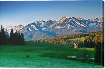 Canvastavla Polska Tatrabergen panoram på morgonen
