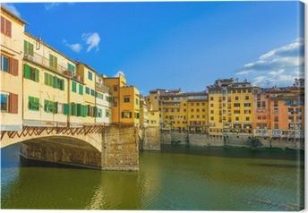 Canvastavla Ponte Vecchio på solnedgången, gamla bron, Florens. Toscana, Italien.