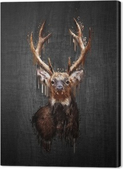 Canvastavla Rådjur på mörk bakgrund. måla effekt