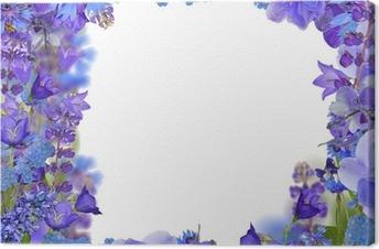 Canvastavla Ram fronm blå blommor på vit