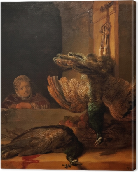 Canvastavla Rembrandt - Stilleben med två påfåglar och en flicka - Reproduktioner