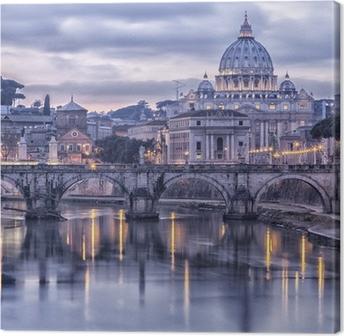 Canvastavla Rom och floden Tibern i skymningen