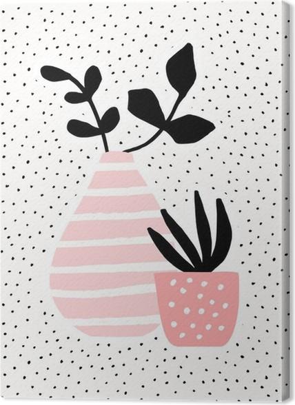 Canvastavla Rosa vas och kruka med växter - Växter & blommor