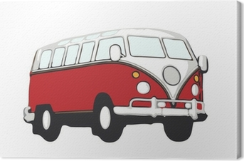 Canvastavla Roter vw bus hippie