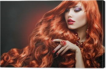 Canvastavla Rött hår. Fashion Girl Portrait. långt lockigt hår