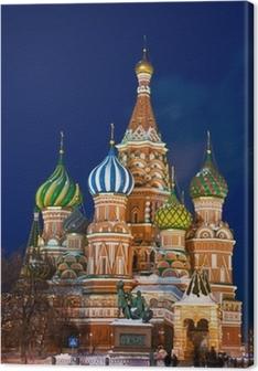 Canvastavla Saint Basil domkyrka på natten, Moskva