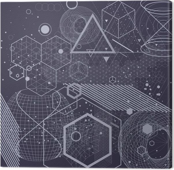 Canvastavla Sakral geometri symboler och element bakgrund. Kosmiskt, universum, bing bang, alkemi, religion, filosofi, astrologi, vetenskap, fysik, kemi och andlighet teman. - Grafiska resurser