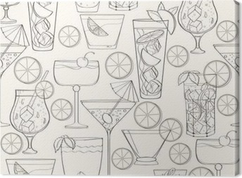 Canvastavla Seamless cocktail mönster