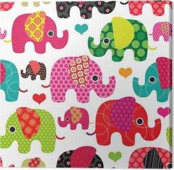 Canvastavla Seamless elefantungemönster bakgrund vektor