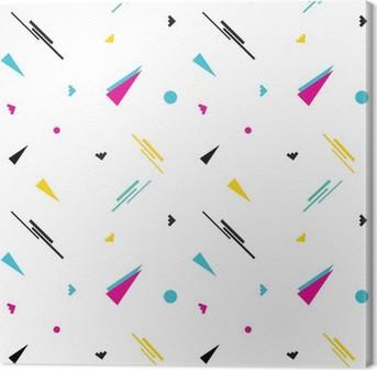 Canvastavla Seamless geometriska Memphis mönster i retro 80s stil