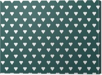 Canvastavla Seamless mönster med vita hjärtan på pastellfärgad bakgrund
