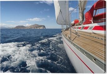 Canvastavla Segelbåt på Sardinien kust, Italien
