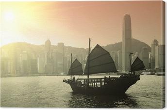 Canvastavla Segling Victoria Harbor i Hong Kong