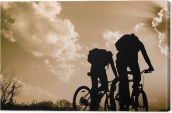 Canvastavla Silhuetter av cyklister