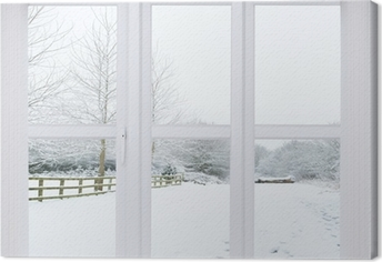 Canvastavla Snow Scene Window