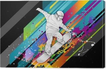 Canvastavla Snowboardåkare