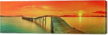 Canvastavla Solnedgång panorama