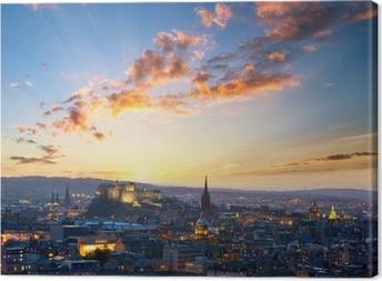Canvastavla Solnedgång utsikt över Edinburgh, UK
