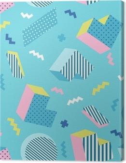 Canvastavla Sömlös färgstark gammal skola geometrisk blå bakgrundsmönster, memphis design stil. vektor illustration