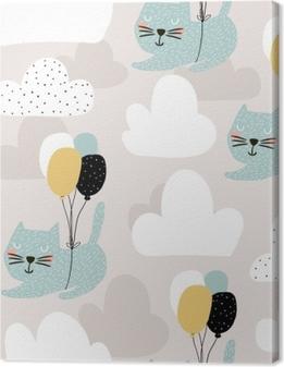 628c025e1774 Canvastavla Sömlöst barnsligt mönster med söta katter som flyger med  ballong. kreativ plantskola bakgrund.