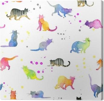 Canvastavla Sömlöst mönster med söta katter