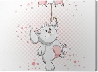 Canvastavla Söt kanin - rosa detaljer