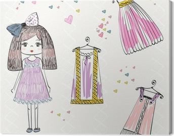 ce4b17bc0925 Canvastavla Vektor fashionabla vackra kläder för små flickor • Pixers® - Vi  lever för förändring