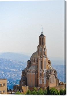 Canvastavla St Paul basilika på Harissa nära Beirut i Libanon