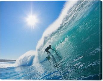 Canvastavla Surfer på Blue Ocean Wave