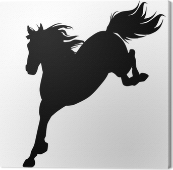 Canvastavla Svart häst siluett 14 (vektor)