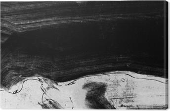 Canvastavla Svart och vit handmålade bakgrundsstruktur med grungeborstslag
