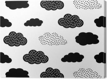 Canvastavla Svart och vitt sömlösa mönster med moln. Söt baby shower vektor bakgrund. Barn ritning stil illustration.
