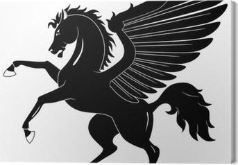 Canvastavla Svart Pegasus på vit bakgrund