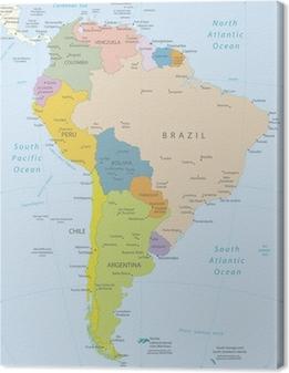 Canvastavla Sydamerika-mycket detaljerade map.Layers används.